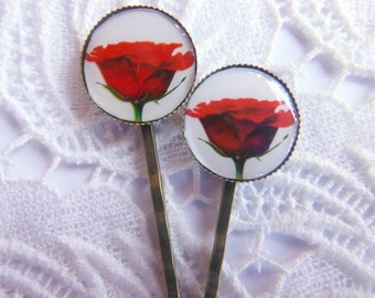 Red Rose Flower Hair Clips Bobby Pins.