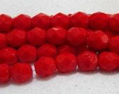 Czech Glass Round Fire Polish Beads 6mm Opaque Red (25)