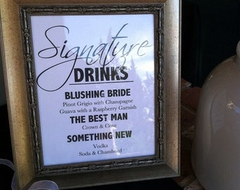 Signature drink sign wedding signature drink sign junglespirit Gallery