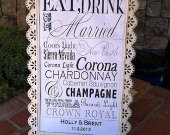 Wedding Bar Menu Sign