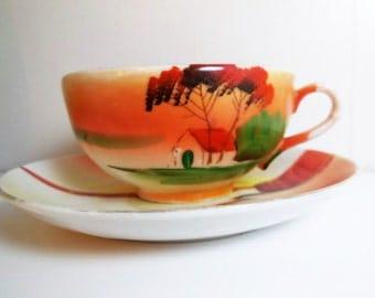 Takito Teacup and Saucer - Handpainted Bone China - Japan Vintage