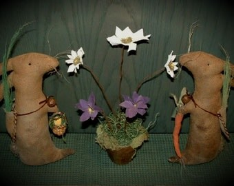 Very Primitive Bunnies Rabbit Spring Cupboard Dolls
