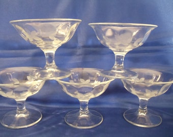 Vintage Stemed Etched  Pressed Glass 5 Desert Sorbet Dishes