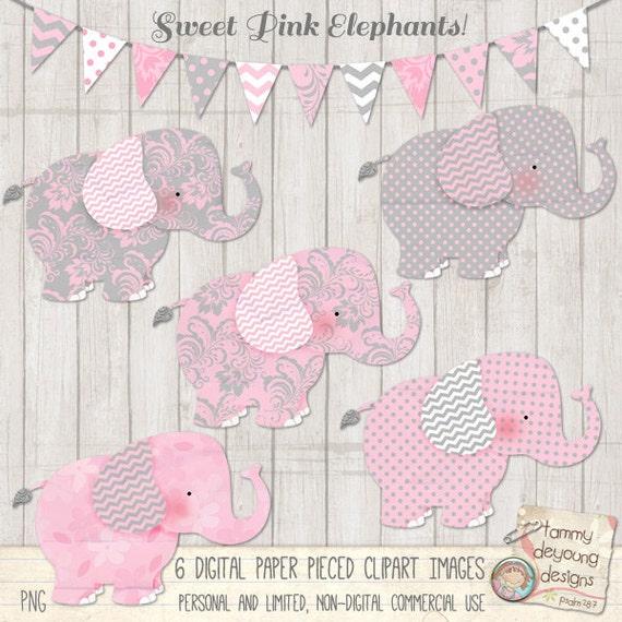 Elephant Clip Art Nursery Elephants clipart Pink Gray baby