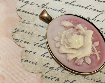 Cameo charm necklace, cameo necklace, charm necklace, silver necklace, flower, rose, pink, angel charm necklace