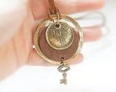 SALE Vintage Style Hotel Room Key Set Necklace Antiqued Brass