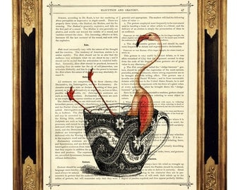 Pink Flamingo bathing in Tea Cup - Vintage Victorian Book Page Art Print Steampunk