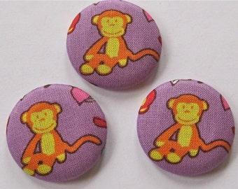 SALE Purple Orange Monkey Buttons Lot of 3  SALE