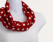 Short Infinity Scarf Classic Red and White Polka Dot