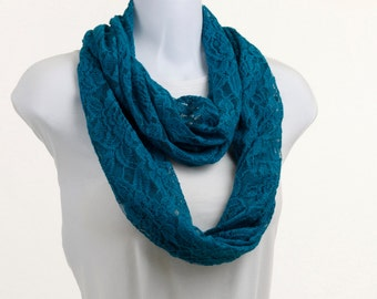 LACE Infinity Scarf - Beautiful Teal Blue ~ SP011-L1