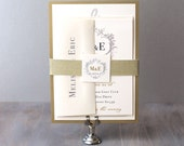 "Elegant Gold and Silver Monogram Wedding Invitations, Wedding Invitations, Ivory Elegant Wedding Invitation - ""Antique Glitter"" Sample"