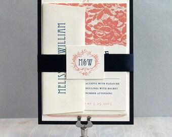 "Coral and Navy Wedding, Coral Wedding Invitations, Navy and Peach Invitation, Vintage Monogram Invitation, ""Deco & Lace"" Sample"