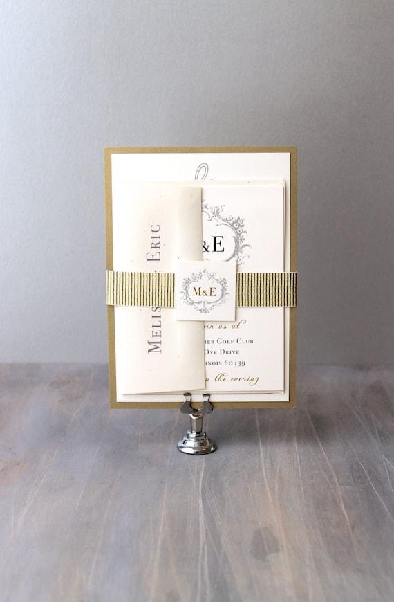 "Elegant Gold and Silver Monogram Wedding Invitations, Wedding Invitations, Ivory Elegant Wedding Invitation - ""Antique Glitter"" Sample"