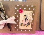 Darling Bunny Girl With Pussywillows, Handmade Card, Brown and Pink, Blank Inside