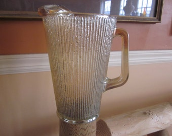 lge carnival glass pitcher, ribbed pitcher carnival glass