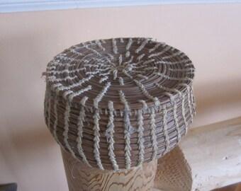 vtg pine needle covered basket, baskets,