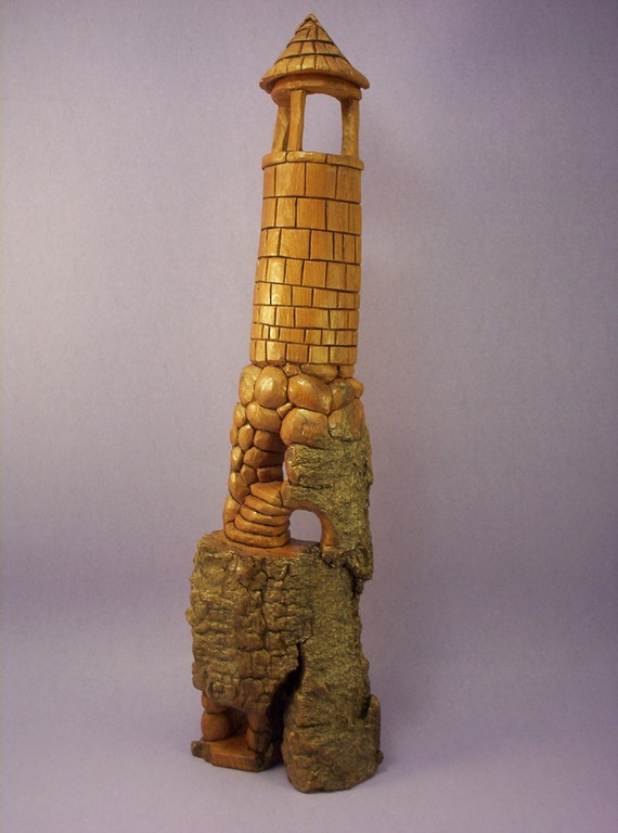 Hand carved cottonwood bark tower whimsical OOAK rustic decor wood carving gift for him/her han made in Wisconsin by Old Bear Wood Carving