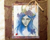 "Handmade original art print card ""Blue Fairy"""