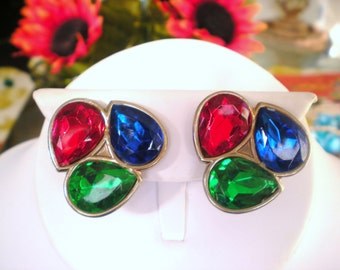 Jewel Tone Rhinestone Cluster Clip Earrings