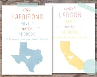 State Love Moving Announcement // Set of 40