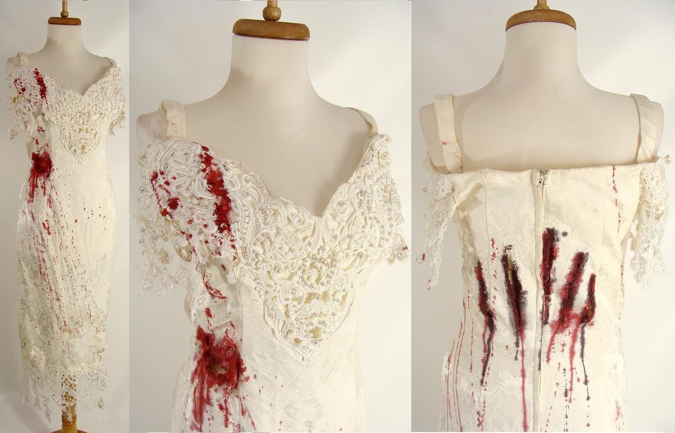 ooak y Bloody Vampire Zombie Werewolf Bride Wedding Dress