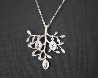 Lovely family Tree necklace with 3 initial leaves- STERLING SILVER - gift for mom daughter sister ,for wife ,grandma gift ,custom initials