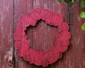 Wooden Rose Wreath Valentine Romantic Home Decor Cottage Chic