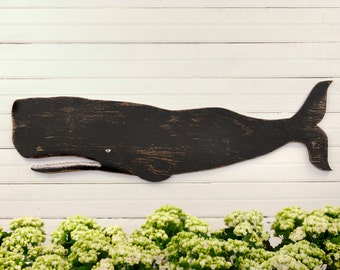 Black Folk Whale Art Nautical Decor Whale Folk Art Coastal Decor Wall Art