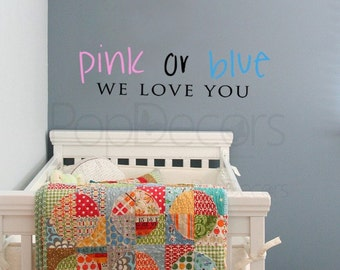 pink Or blue - Words and Letters Decal