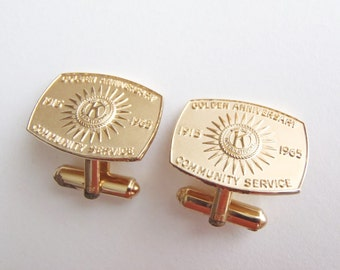 Vintage Kiwanis International Cufflinks Gold Tone 1965 Golden Anniversary 50th Community Service Organization New York Celebration Circle K