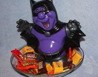 Vibrant purple and black hand-painted Halloween Bat