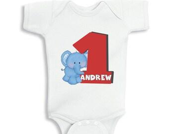 1 Year Old Birthday Boy with cute Elephant bodysuit or infant T-Shirt