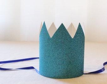 Blue Glitter Paper Crown - Set of 6 - Kids Party Crown, Frozen Crown, Blue Glitter Crown, Blue Birthday Crown, Elsa Tiara, Snow Queen Crown