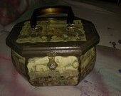 VINTAGE ANTON PIECK wooden box purse train station, steam engine and market place 1970s decoupage modge podge