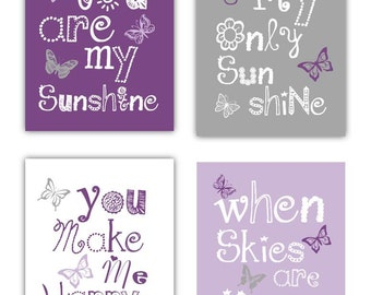 "Purple Nursery Decor - Purple Wall Art for Kids - Art for Nursery - Butterfly Art for Girls - You are my sunshine Art - 4-8x10"" PRINTS ONLY"