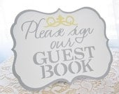 Grey / Gray White and Yellow -  Flat or Freestanding Guest Book Sign - Choose Your Colors