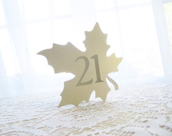Fall Wedding Table Numbers - Gold Wedding Table Numbers - Table Numbers Wedding - Table Number Cards - Table Number Signs - Gold Leaf