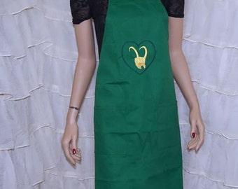 Loki's Army Heart Green Chef Apron MTCoffinz