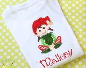 Christmas Elf Girl shirt holiday personalized Girls Custom monogrammed Long sleeve onesie child's kids T-Shirt girls appliqued embroidered