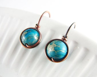 Wire Wrapped Earrings Copper Jewelry Turquoise Jasper Earrings Wire Wrapped Jewelry Copper Earrings Turquoise Earrings