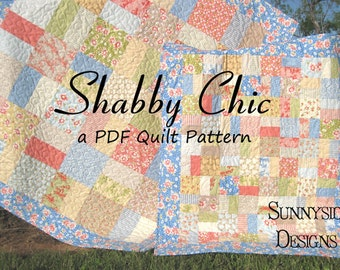Layer Cake Quilt Pattern Shabby Chic Charm Pack Moda Fabric Baby Throw Sizes Modern Traditional Beginner Intermediate Simple Quick Easy