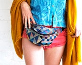 Geometric bumbag fannypack tapestry, black ykk zip. fully lined fanny pack with key ring tab for children and adults fanny pack