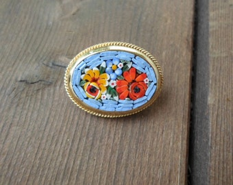 Vintage Gold Tone Mini Mosaic Glass Micro Pin/Brooch Small Oval Light Blue With Red/Yellow Flowers Roses 1950s to 1960s Gift Birthday