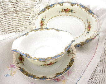 COMPLETER Pieces for Vintage 1950s Kongo STS Hand Painted China, Gravy Boat, Serving Bowl 1950