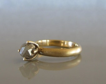 Rough cut diamond engagement ring,  Alternative engagement ring, Raw cut diamond ring