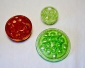 Depression Glass Flower Frog Pink Green Collectible Vintage Floral Arrangement Set of 3
