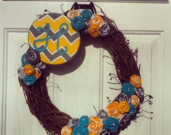 """Turquoise, Yellow, and Grey 18"""" Rosette Wreath With Hand-painted Sign"""