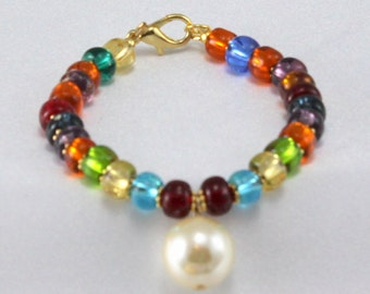 Glass Beaded Bracelet with Large Pearl Charm.  Lightweight Bracelet.  Colorful, Multicolored Jewelry, OOAk Gift For Her.