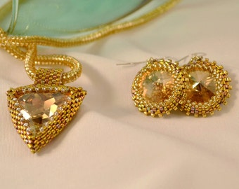Sparkling Gold Beadwoven Swarovski Crystal Triangle Necklace and Earring Set Statement Jewelry Crystal Swarovski and Gold Bridal Jewelry