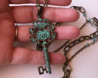 Vintage Style Aqua Key Necklace with hand beaded chain